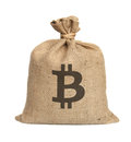 Bag from bitcoin isolated on a white background Royalty Free Stock Images