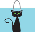 Bag cat design element on blue background Stock Images