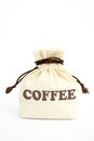Bag of coffee canvas on a white background Stock Photography