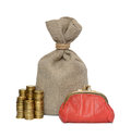 Bag coin and purse on a white background Royalty Free Stock Photo