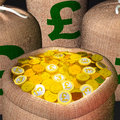 Bag Of Coins Showing British Prosperity Stock Photos