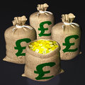 Bag Of Coins Shows British Savings Stock Images