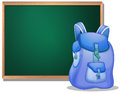 A bag in front of the empty blackboard illustration on white background Royalty Free Stock Photo