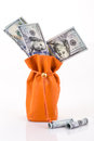 Bag full with money american dollars Royalty Free Stock Photo
