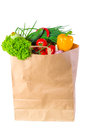 Bag full of wholesome food paper Royalty Free Stock Photography