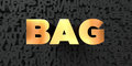 Bag - Gold text on black background - 3D rendered royalty free stock picture