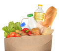 Bag of groceries isolated on white background Stock Photos