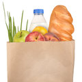 Bag of groceries isolated on white background Royalty Free Stock Photos