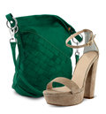 Bag and  high heel women shoe on white Royalty Free Stock Images