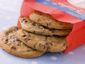 Bag Of Milk Chocolate Chip Cookies Royalty Free Stock Photo