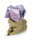 Bag of money with different euro bills Stock Image