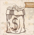 Bag of money hand drawn dollar banknotes vector illustration financial theme isolated on background Stock Image