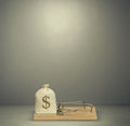 Bag with money in mousetrap Royalty Free Stock Photo