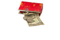 Bag for money red on isolated Stock Image