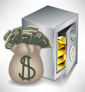 Bag of money and safe with gold Royalty Free Stock Photography