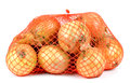Bag of onions isolated on white Royalty Free Stock Photo