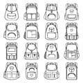 Bag pack linear icons Royalty Free Stock Photo