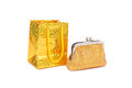 Bag and purse gold present money Stock Photo