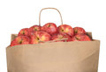 Bag of red apples isolated on white background Stock Photos