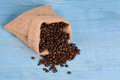 Bag of roasted coffe beans Royalty Free Stock Photo