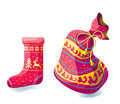 Bag and sock christmas for gifts a new years Stock Image