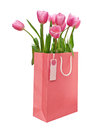 Bag with tulips pink shopping and tag isolated on white Stock Images