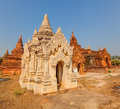 Bagan ancient white small pagoda in with beautiful stucco details burma myanmar Stock Images