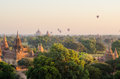 Bagan balloon over pagoda of in myanmar Stock Image