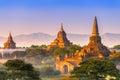 Bagan myanmar temple at sunrise Royalty Free Stock Images