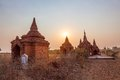 Bagan pagodas at sunset lot of small Royalty Free Stock Photos