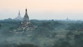Bagan plains myanmar of ancient temples at sunrise Stock Image