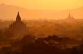 Bagan plains at sunset in myanmar Stock Photo
