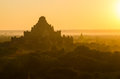 Bagan sunrise over old temples of in myanmar Stock Images