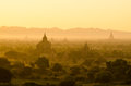 Bagan sunrise over temples of in myanmar Royalty Free Stock Photo