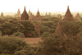 Bagan the sunrise over temples in old in myanmar burma Stock Photo