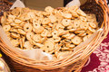 Bagel chips in wicker basket Royalty Free Stock Photo