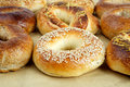 Bagel close up many bagels on the brown paper Royalty Free Stock Photos