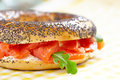 Bagel and lox smoked salmon sandwich with cream cheese on Stock Photography