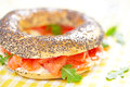 Bagel and lox smoked salmon sandwich with cream cheese on Royalty Free Stock Photos