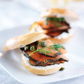 Bagel with salmon cream cheese dill and capers Royalty Free Stock Image