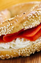 Bagel with smoked salmon and cream cheese Stock Photo
