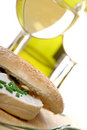 Bagel and wine Stock Photography