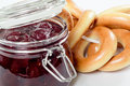 Bagels and strawberry jam bunch of in a glass jar Stock Photography