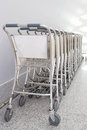 Baggage cart in shenzhen airport Royalty Free Stock Image