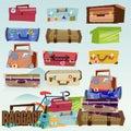 Baggage collection set. traveler concept -