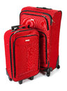 Baggage red suitcase and carry on on white simple Royalty Free Stock Images