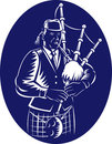 Bagpiper Scottish Great Highland Bagpipe Stock Images