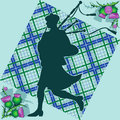 Bagpiper and thistle Royalty Free Stock Photography