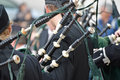 Bagpipers a group of play a concert at saint patrick s day Royalty Free Stock Image