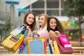 Bags beautiful girls isolated shopping three white Arkivbilder